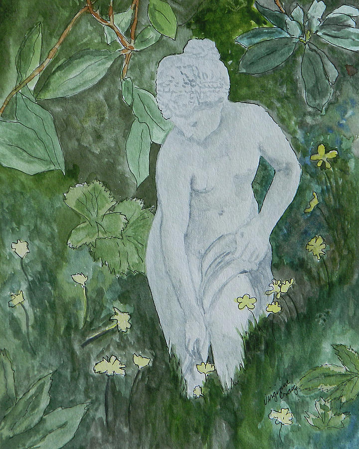 Garden Painting - Stone Lady In The Butercups by Virginia Craig