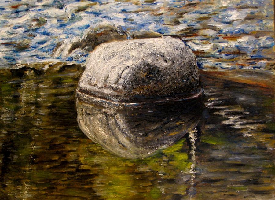 River Stones Painting - Stone landscape original oil painting by Natalja Picugina