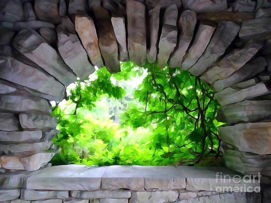 Archway Digital Art - Stone Lookout by Ed Weidman