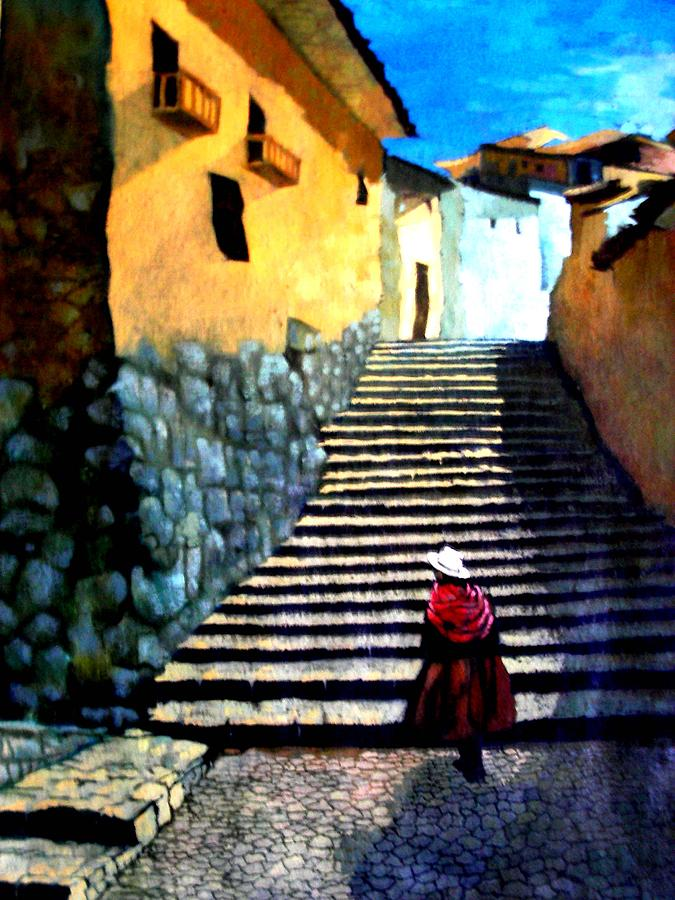 Landscape Painting - Stone Path by Victor Cuya