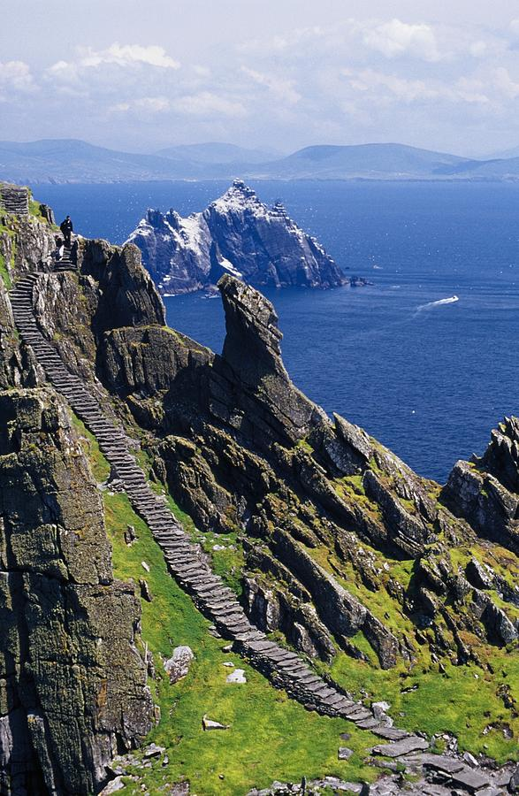 Coastal Photograph - Stone Stairway, Skellig Michael by Gareth McCormack