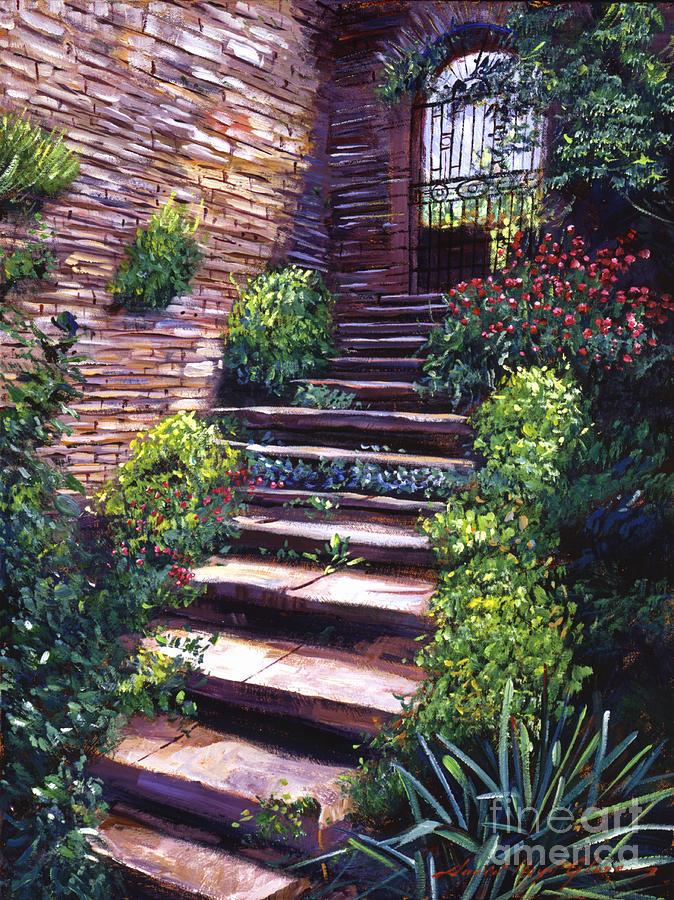 Tuscany Painting - Stone Steps Tuscany by David Lloyd Glover