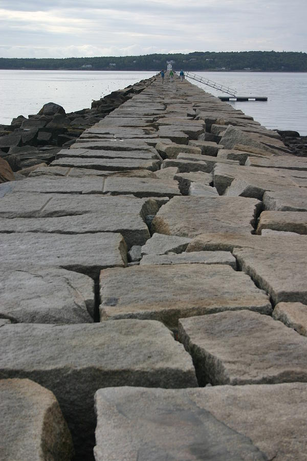 Landscape Photograph - Stone Walk To Light House by Dennis Curry
