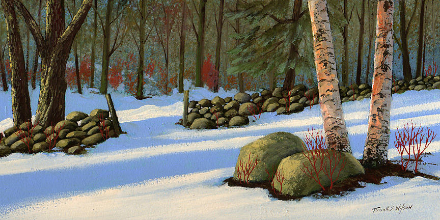 Landscape Painting - Stone Wall Gateway by Frank Wilson