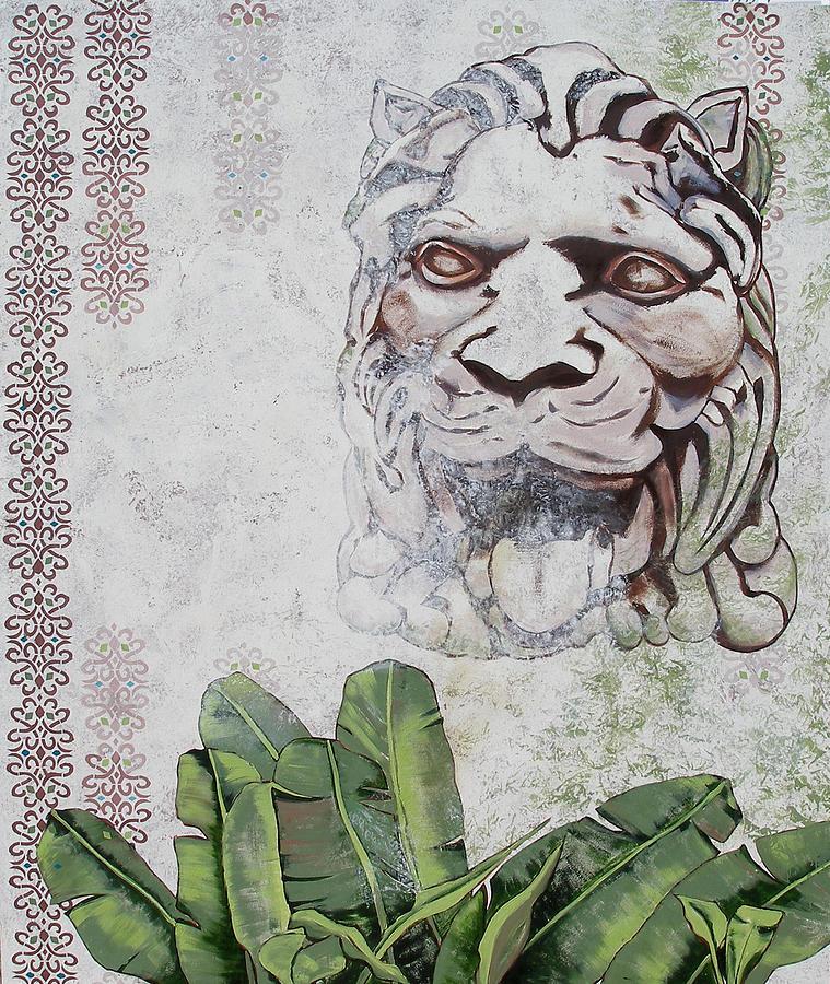Lion Sculpture Painting - Stoned Lion by CJ Van James