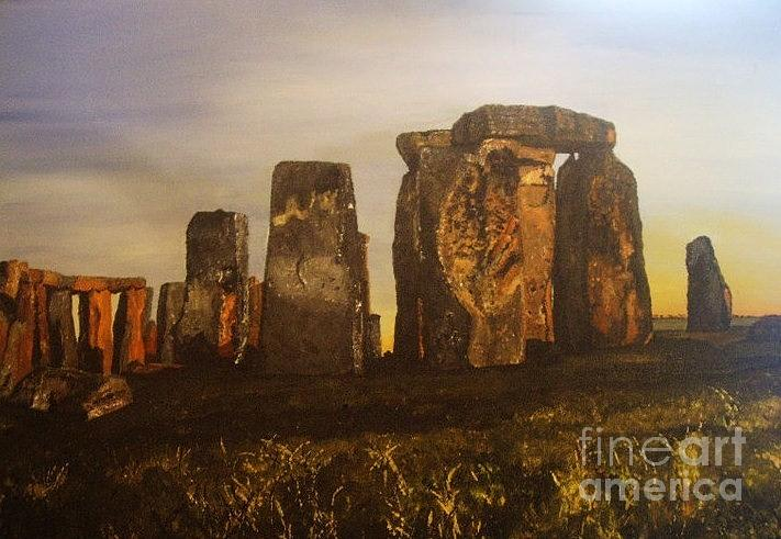Stonehenge Painting - Stonehenge At Dawn Summer Solstice by Tracey Mitchell