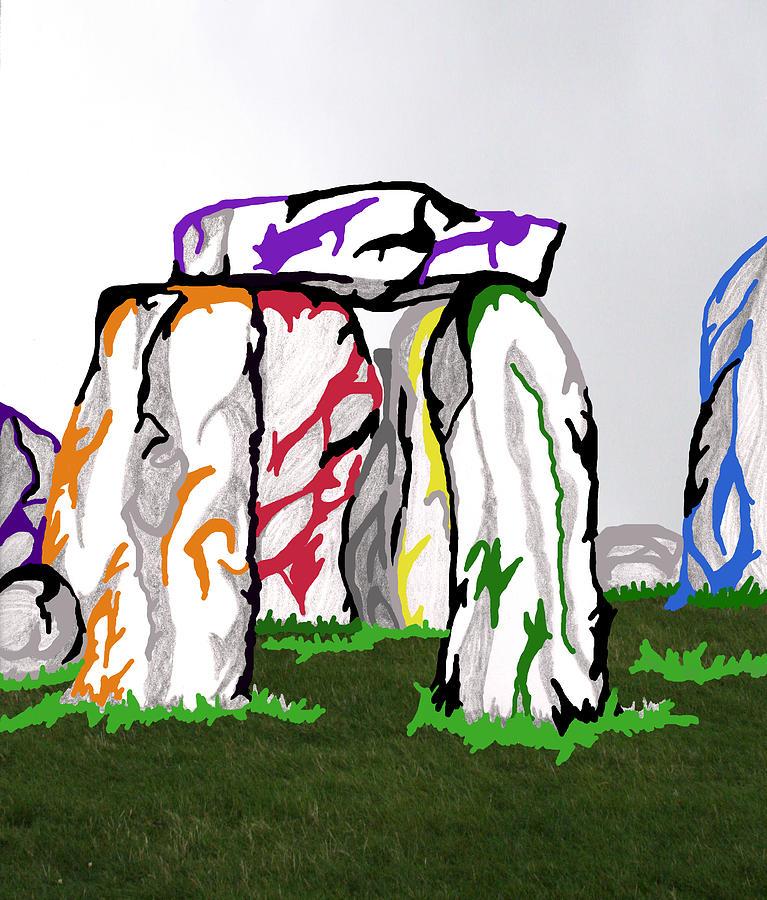 Abstract Mixed Media - Stonehenge Chakras by Mary Mikawoz