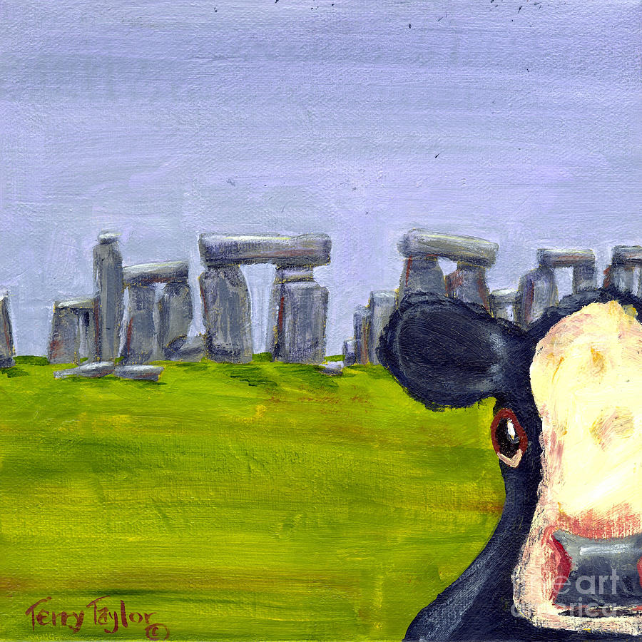 Cow Painting - Stonehenge Cow by Terry Taylor