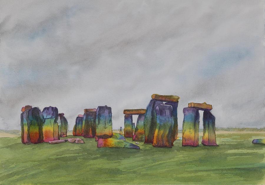Stonehenge Painting - Stonehenge rainbow by Debbie Homewood