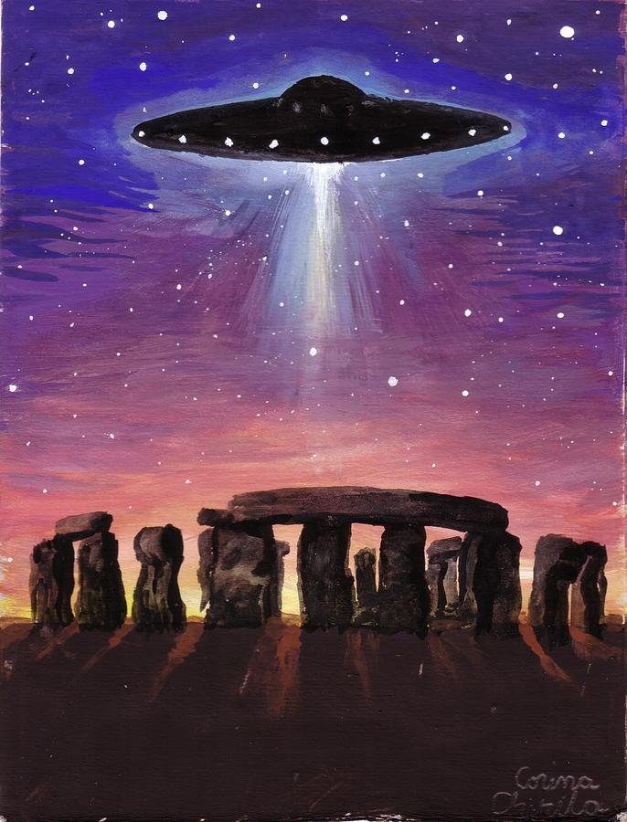 Ufo Painting - Stonehenge Ufo by Chirila Corina