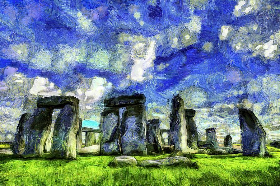 Vincent Van Gogh Mixed Media - Stonehenge Vincent Van Gogh by David Pyatt
