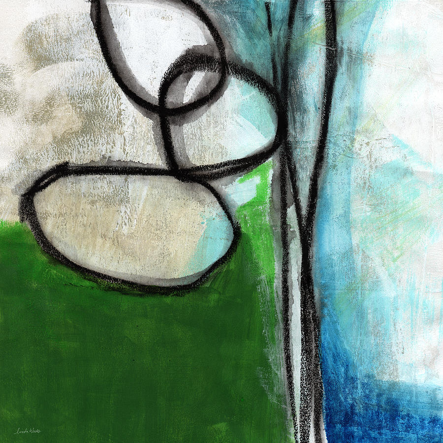 Green Painting - Stones- Green and Blue Abstract by Linda Woods