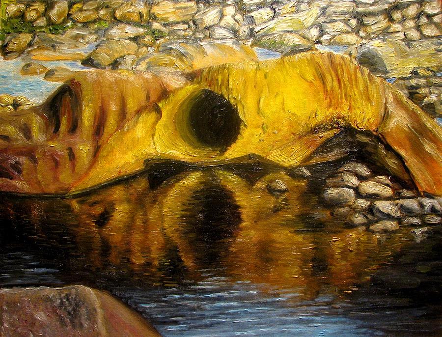 Landscape Painting - Stones Ocoee River In Tennessee Landscape Original Oil Paintings by Natalja Picugina