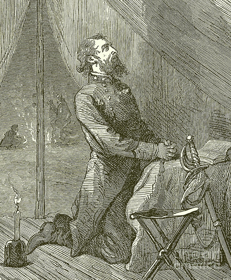 Stonewall Jackson Drawing - Stonewall Jackson praying before the Battle by English School