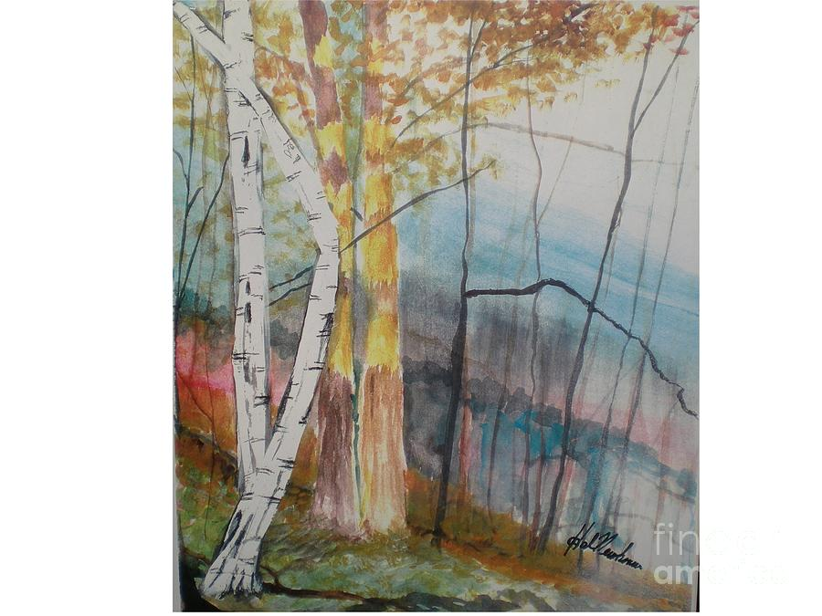 Birch Trees Painting - Stoney Brooke Park by Hal Newhouser