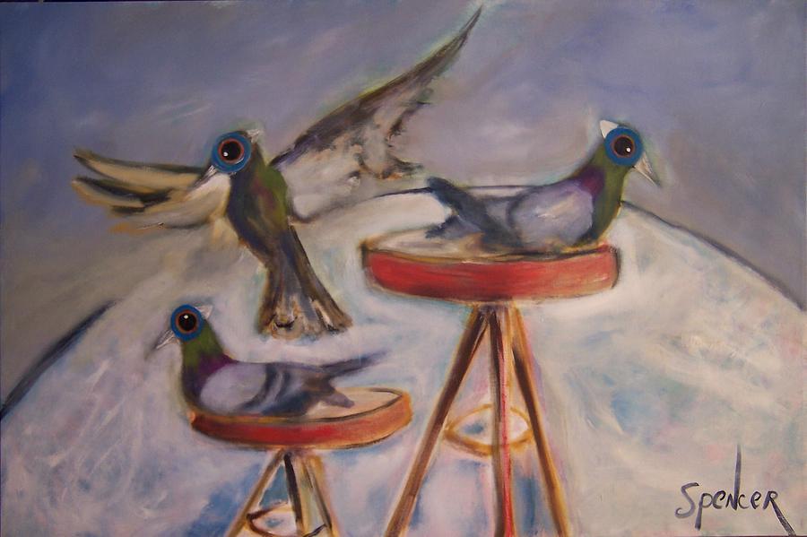 Birds Painting - Stool Pigeons by Scott Spencer