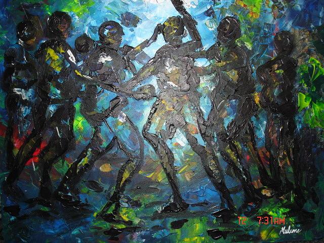 Bm Painting - Stop Fighting by Muheme BISIMWA