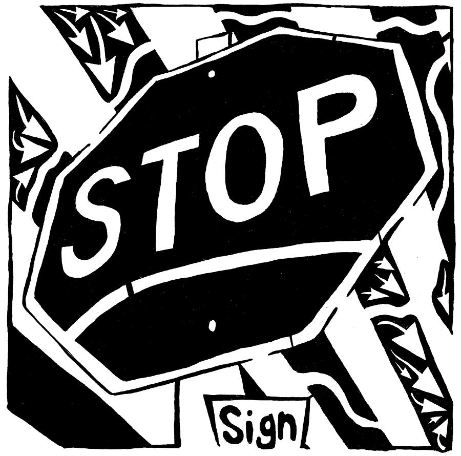 Stop Drawing - Stop Sign Maze For Letter S by Yonatan Frimer Maze Artist