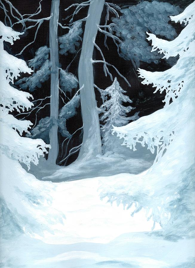 stopping by woods on a snowy evening painting by caprice scott snow painting stopping by woods on a snowy evening by caprice scott