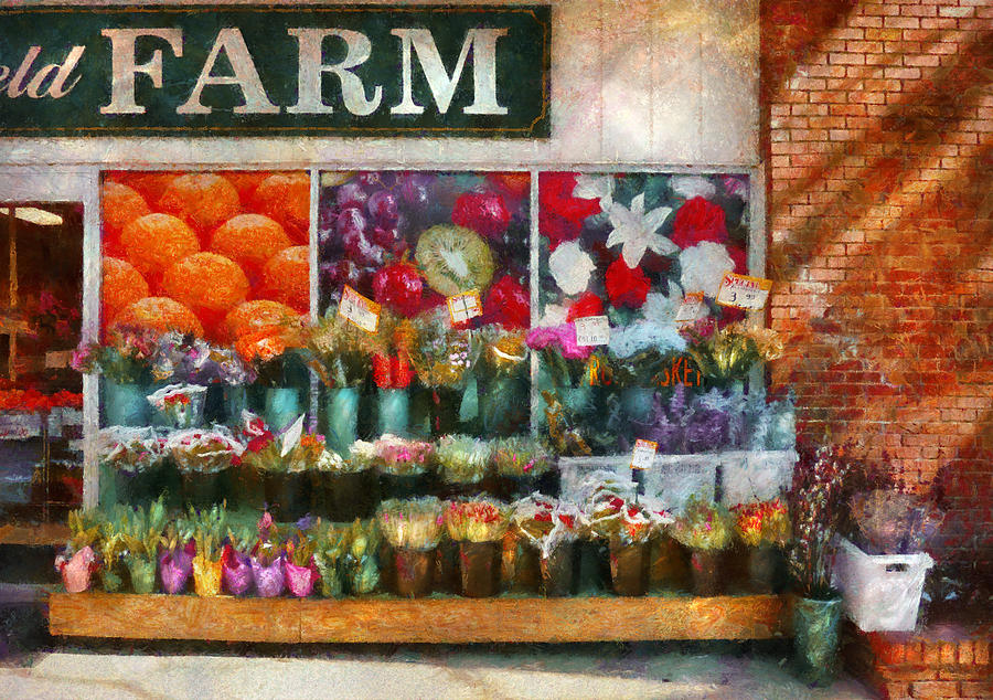 New Jersey Photograph - Store - Westfield Nj - The Flower Stand by Mike Savad