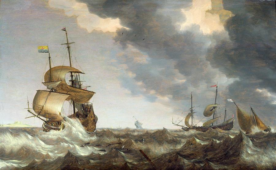 Storm Painting - Storm At Sea by Bonaventura Peeters
