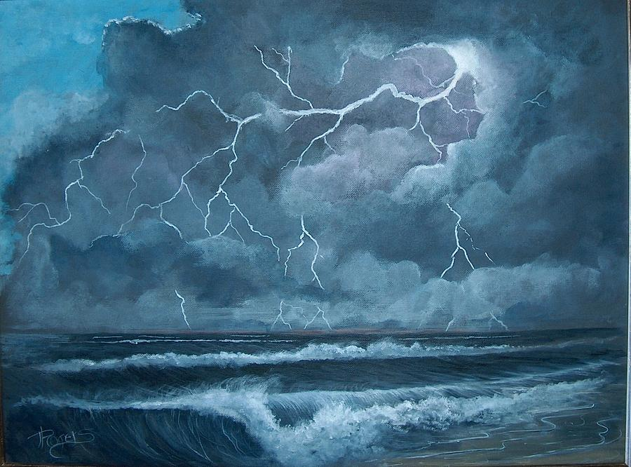 Storm At Sea. Painting By Bonnie Rogers