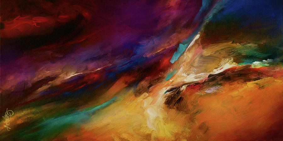 Abstract Design Painting - Storm At Sea by Michael Lang