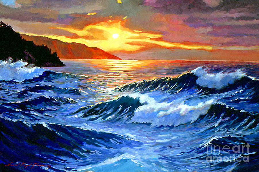 Waves Painting - Storm Clouds - Catalina Island by David Lloyd Glover