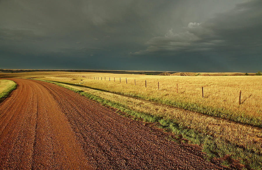 Roadside Digital Art - Storm Clouds Along A Saskatchewan Country Road by Mark Duffy
