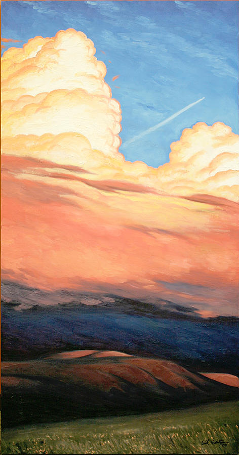 Landscape Painting - Storm Clouds And Sunsets by Erik Schutzman