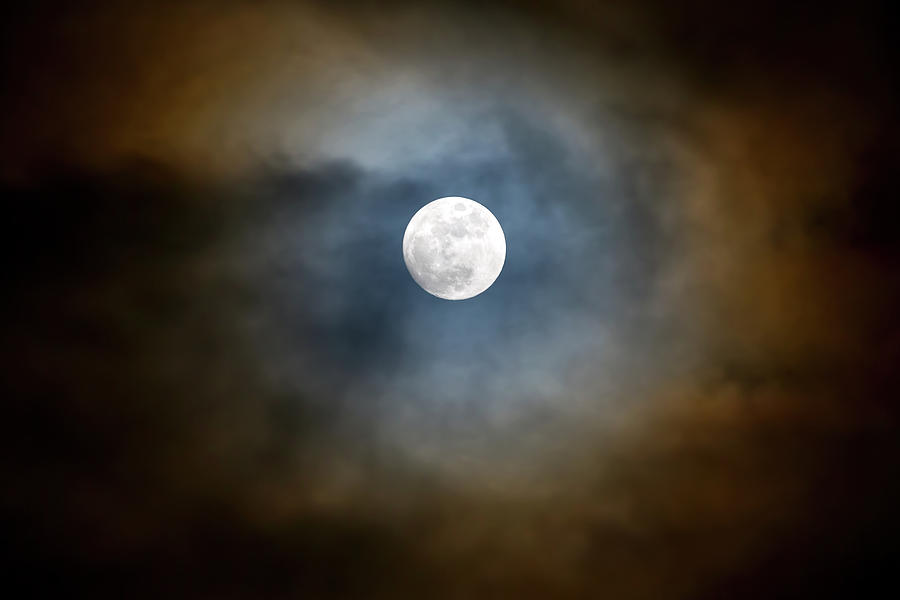 Full Photograph - Storm Clouds Breaking For The Full Moon by David Gn