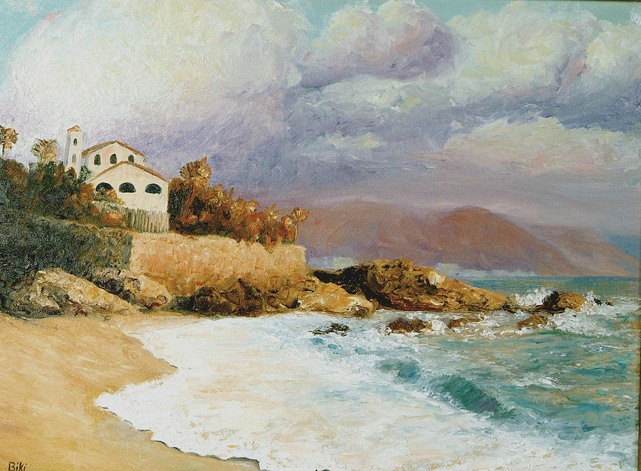 Storm Painting - Storm Clouds on the Beach by Biki Chaplain