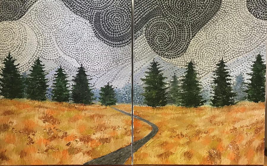Storm Clouds Over Cheney,kansas Painting by Tarzia Nabi