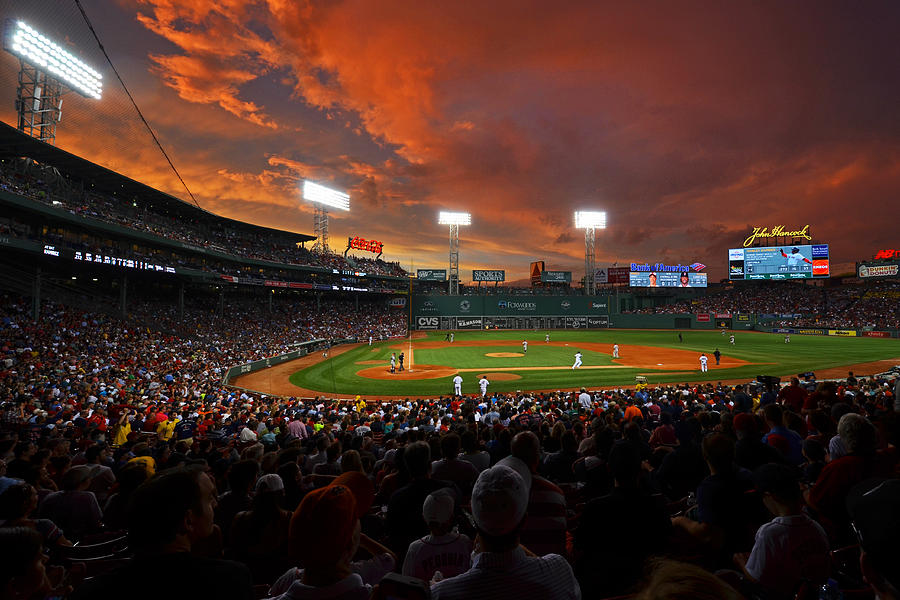 Boston Photograph - Storm Clouds Over Fenway Park by Toby McGuire