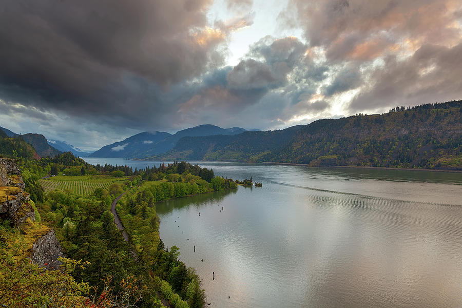 Hood River Photograph - Storm Clouds Over Hood River by David Gn