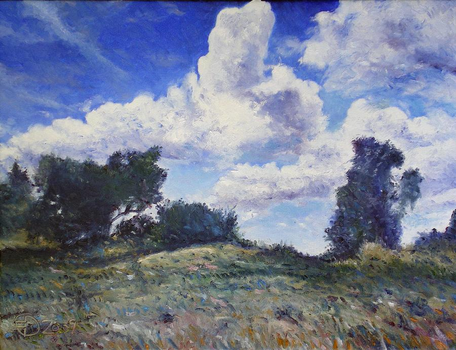 Landscape Painting Painting - Storm Clouds Over Monte Cardeto Lazio Italy 2009 by Enver Larney