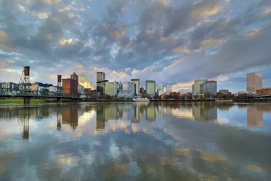Portland Photograph - Storm Clouds Over Portland Skyline During Sunset by David Gn