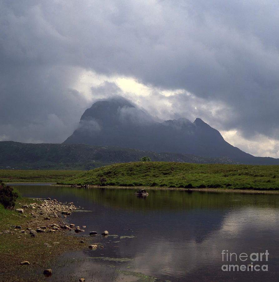 Storm Clouds Passing Across Suilven  And Fion Loch Near Ullapool Ross And Cromarty Scotland Photograph by Michael Walters