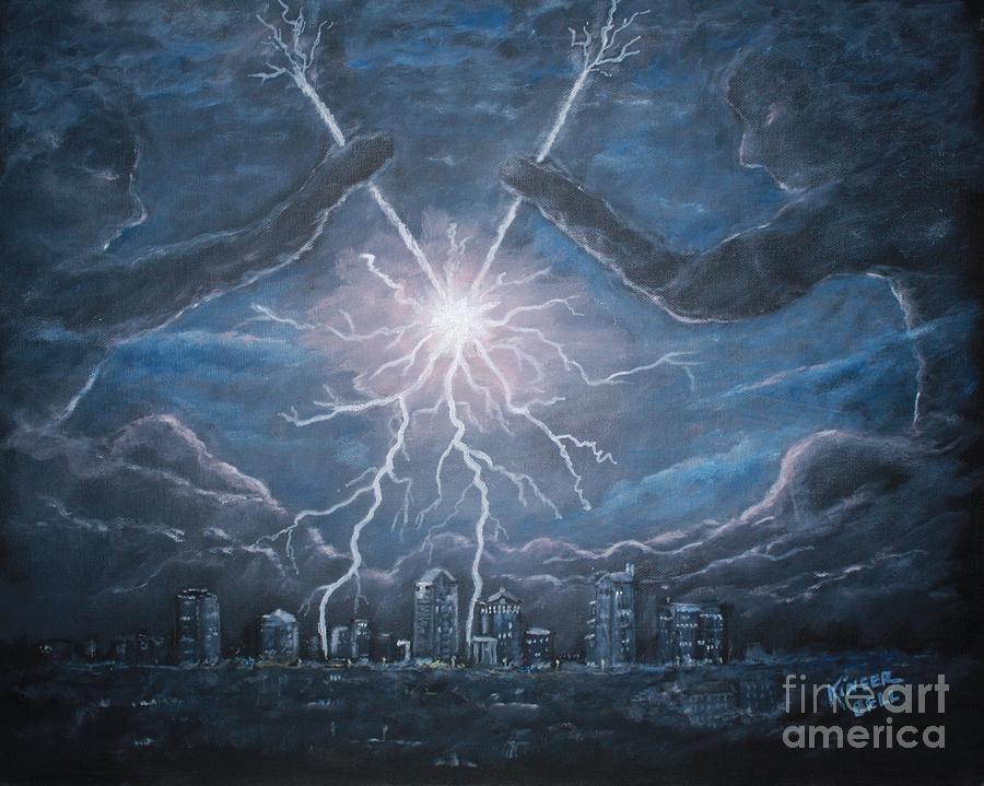 Lightning Painting - Storm Games by Marlene Kinser Bell