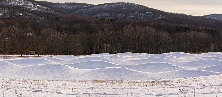 Sculpture Photograph - Storm King Wavefield In Snowy Dress by Angelo Marcialis Photography
