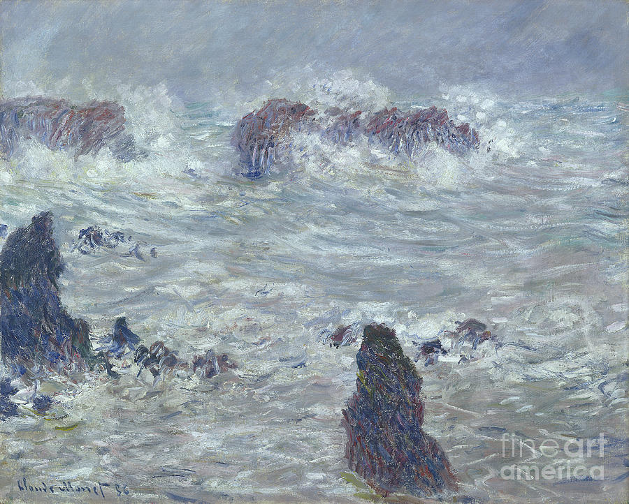 Storm Painting - Storm Off The Coast Of Belle Ile by Claude Monet