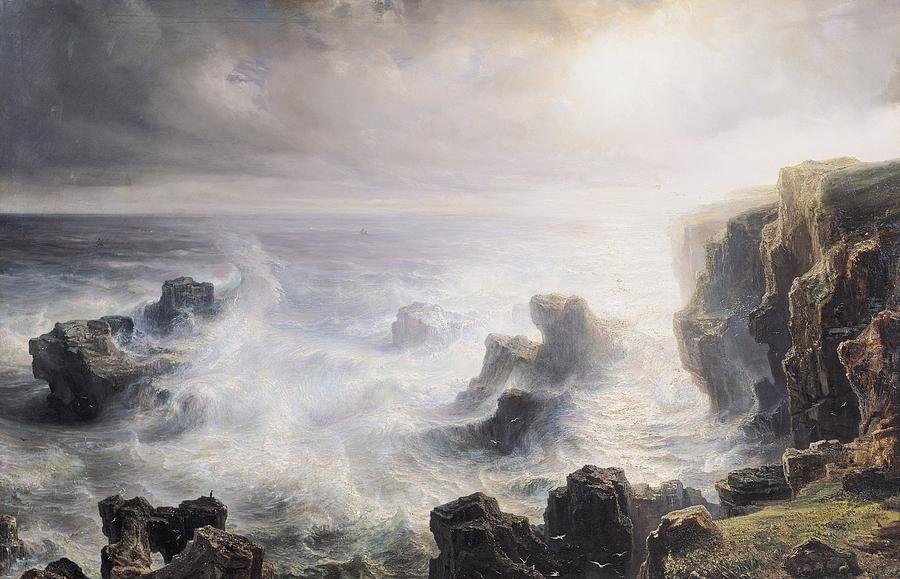 Storm Painting - Storm Off The Coast Of Belle Ile by Jean Antoine Theodore Gudin