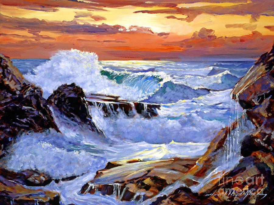 Waves Painting - Storm On The Irish Coast by David Lloyd Glover