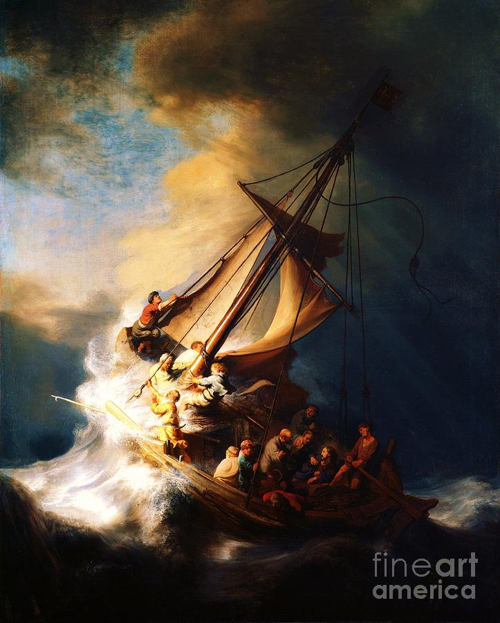 Pd Painting - Storm On The Sea Of Galilee by Pg Reproductions