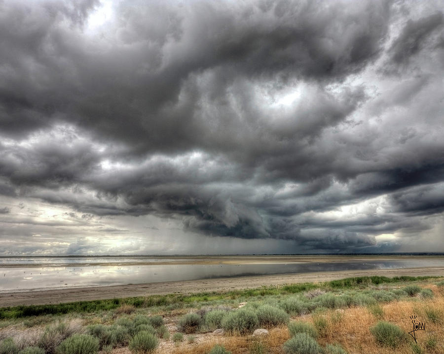 Owl Photograph - Storm Above The Great Salt Lake by Joan Escala