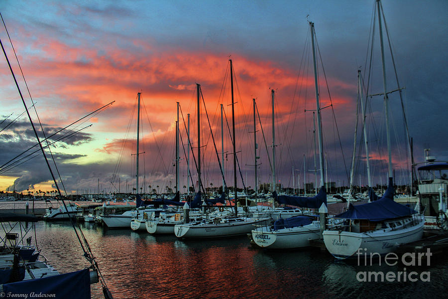 Sunset Photograph - Storm Over The Newport Harbor by Tommy Anderson