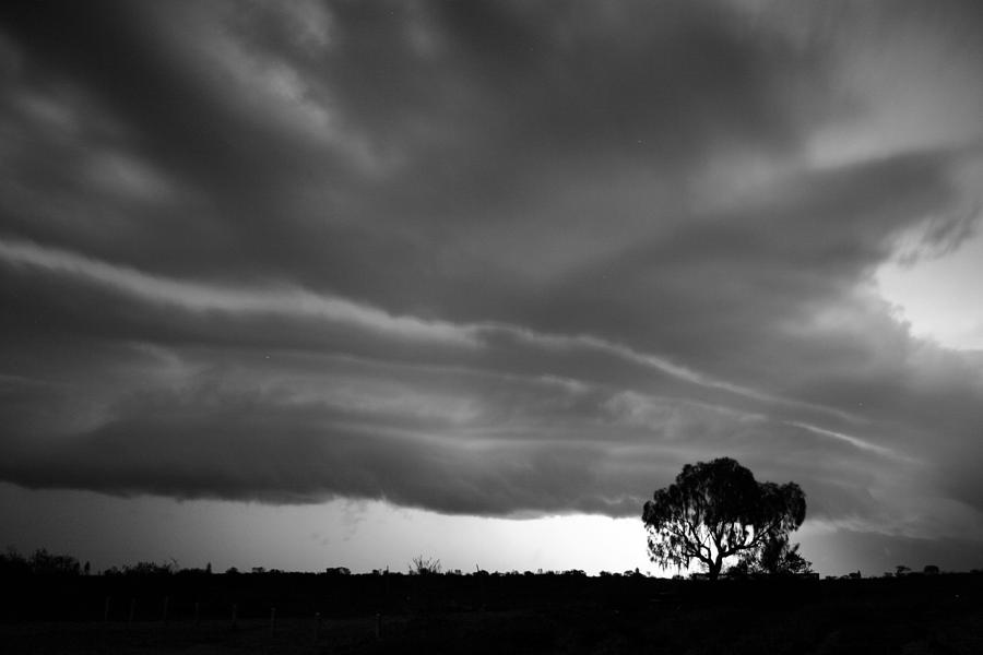 Storm passing over solitary tree in the desert by Keiran Lusk