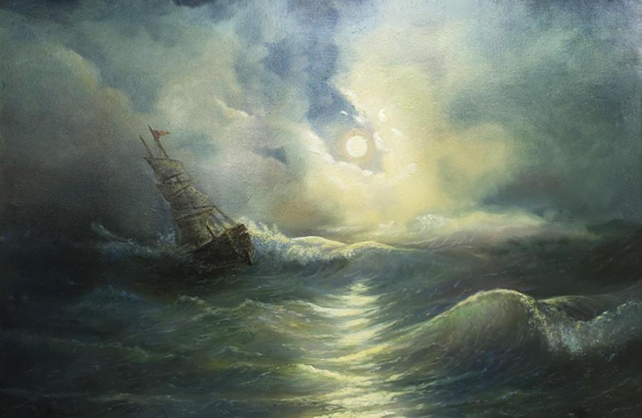 Storm Painting - Storm Ravaged Ship by Vladimir Bibikov