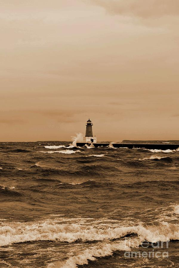 Storm Sandy Effects Menominee Lighthouse Sepia by Ms Judi