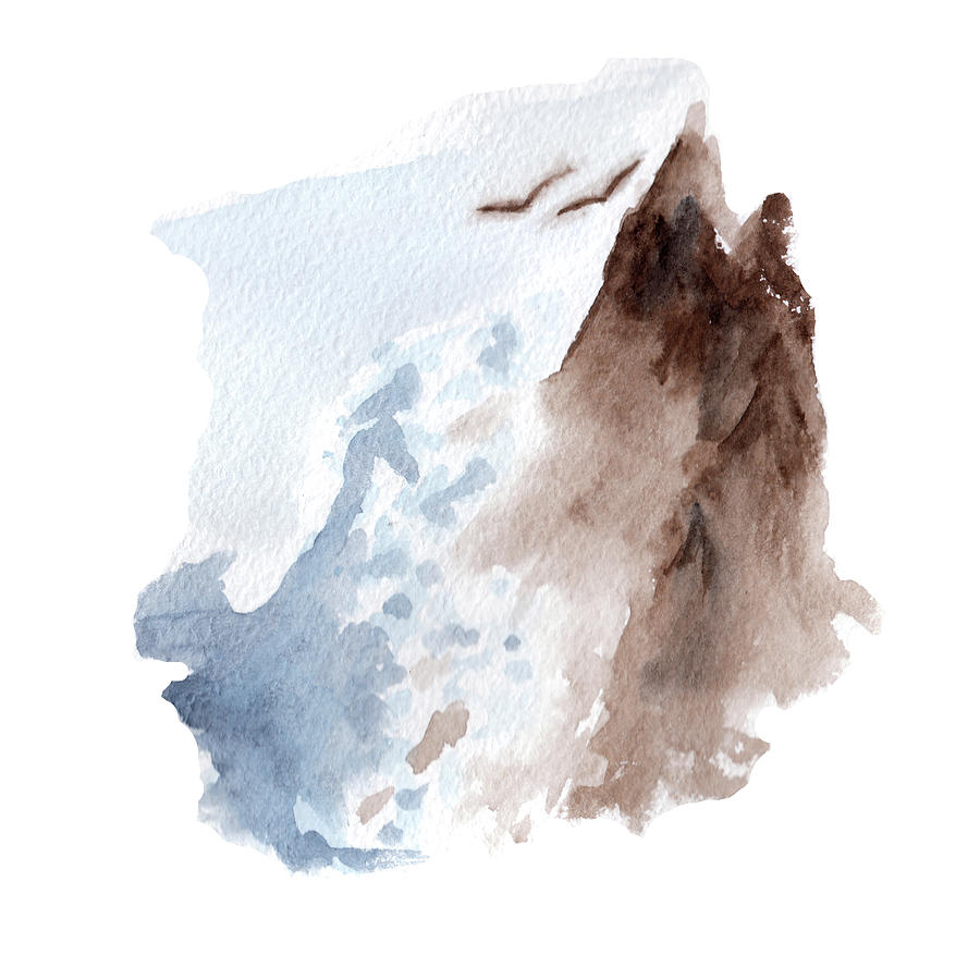 Storm Sea Or Ocean Waves Near Rocks Landscape In Watercolor